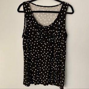 Black and White Polka Dot Ruffle Collar Tank Top